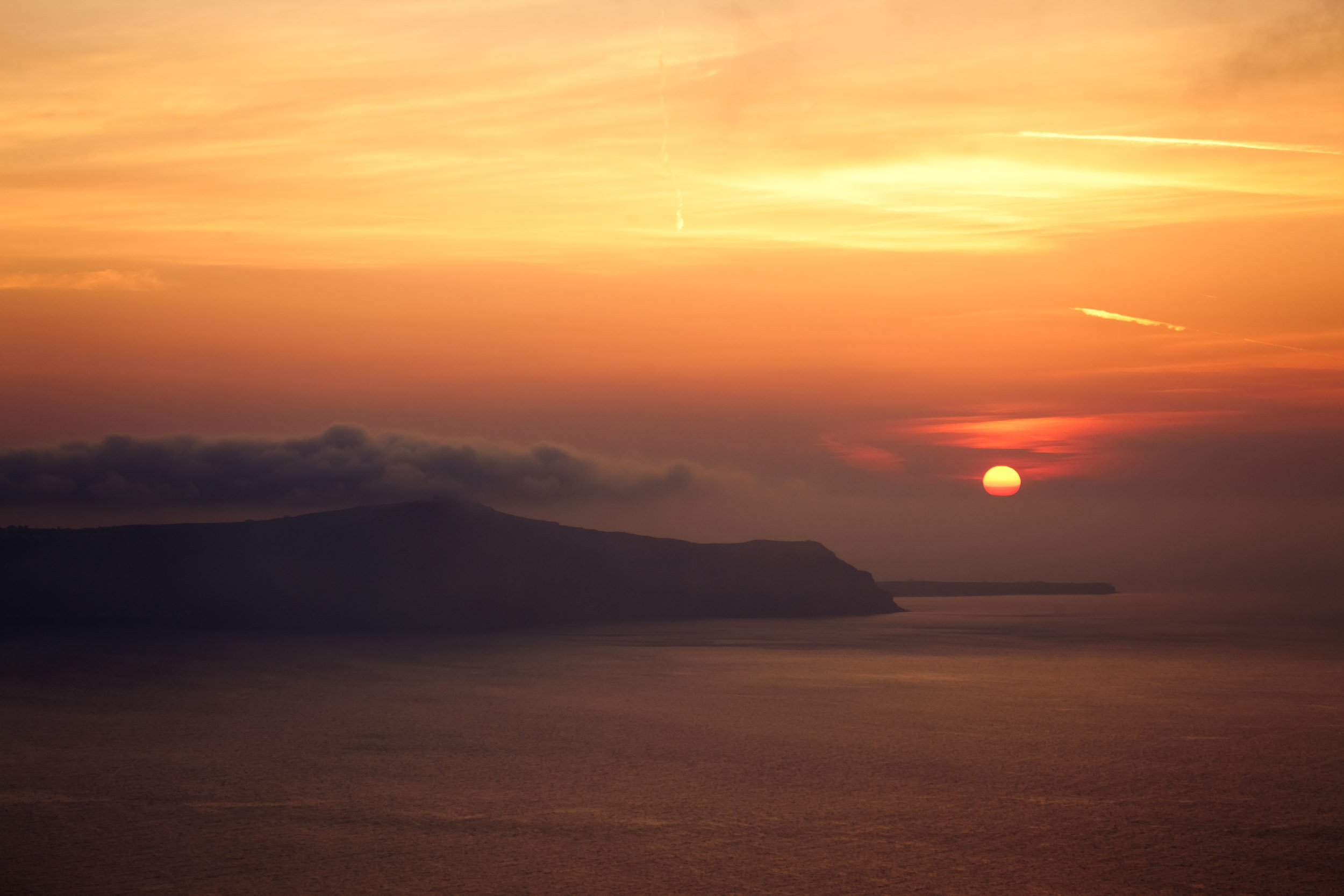 Misty Sunset over Greek Islands