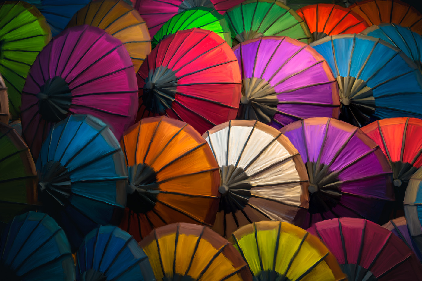 Colorful paper umbrella display. Laos
