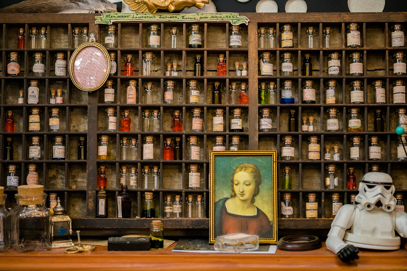 Apothecary in a steampunk store, Dunedin