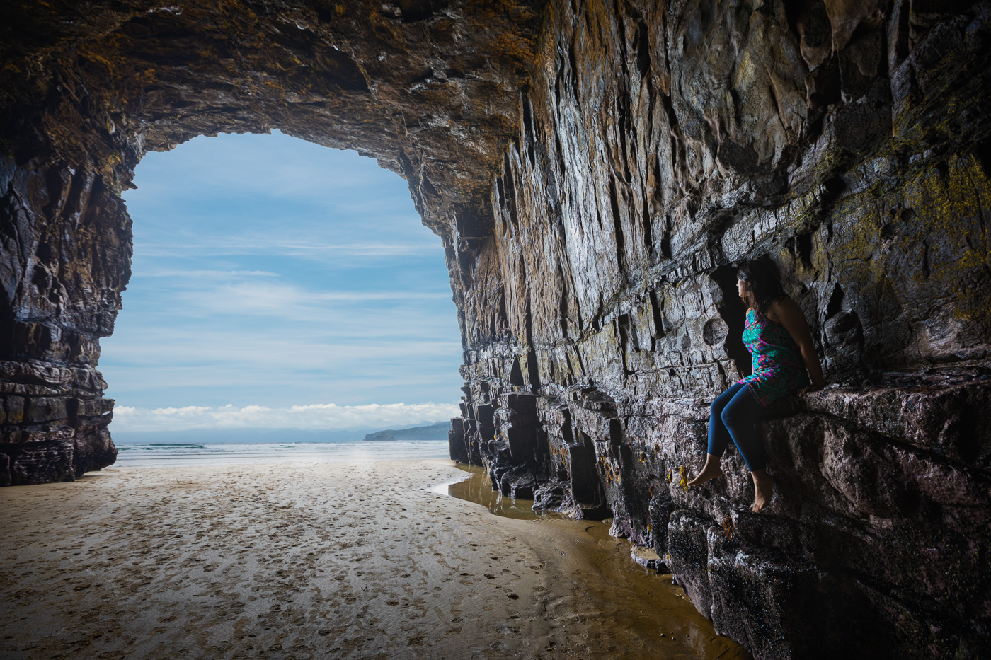 Taking in the view from inside one of the worlds longest sea caves