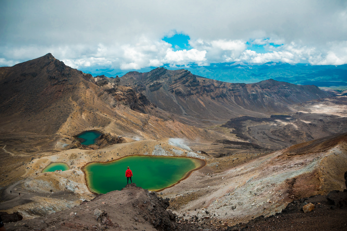 The famous Emerald Lakes on the Tongariro Alpine Crossing