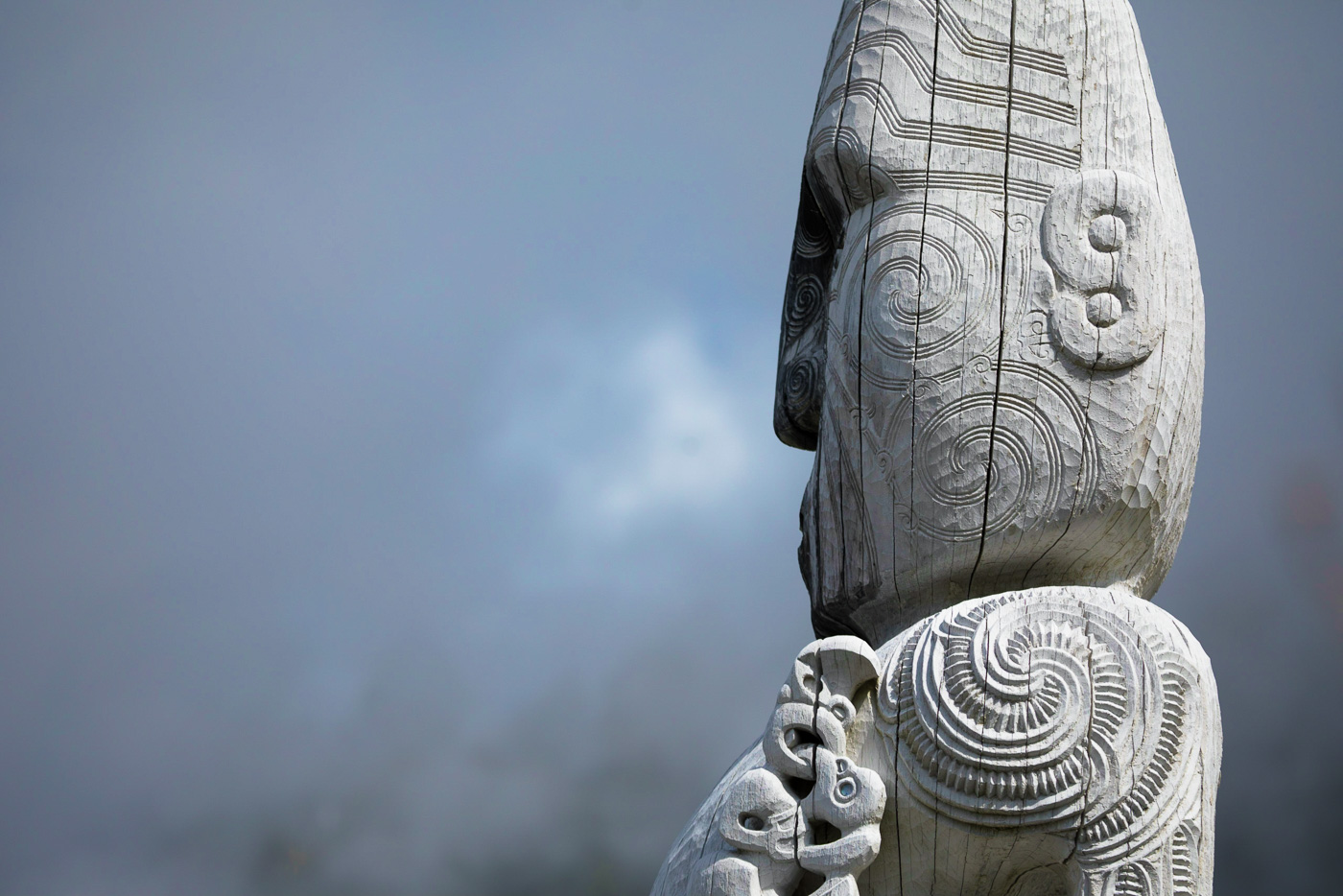 Maori culture is still an integral part of New Zealand. This is a traditional Maori woodcarving
