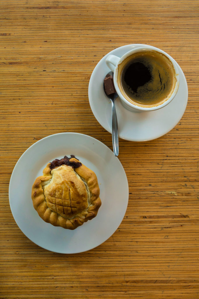 "Meat pie and a ""long black"", my morning ritual."