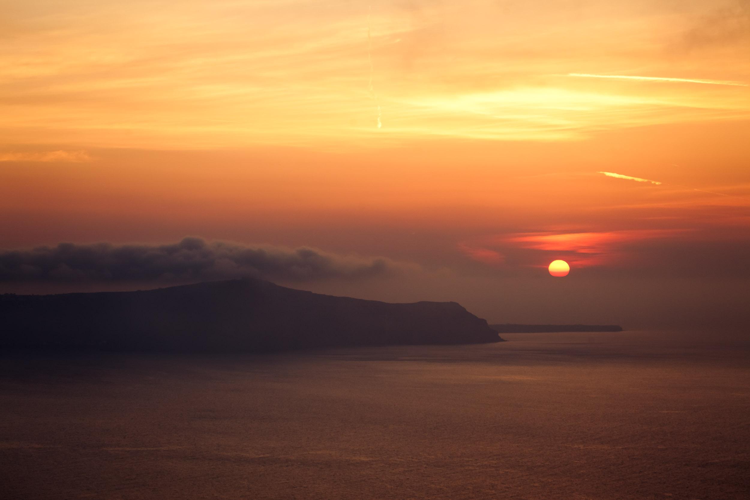 Misty Sunset over Greek Islands